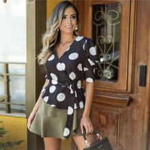 2020 Spring summer new style women's top hot style dot printed polka belt slim T-shirt