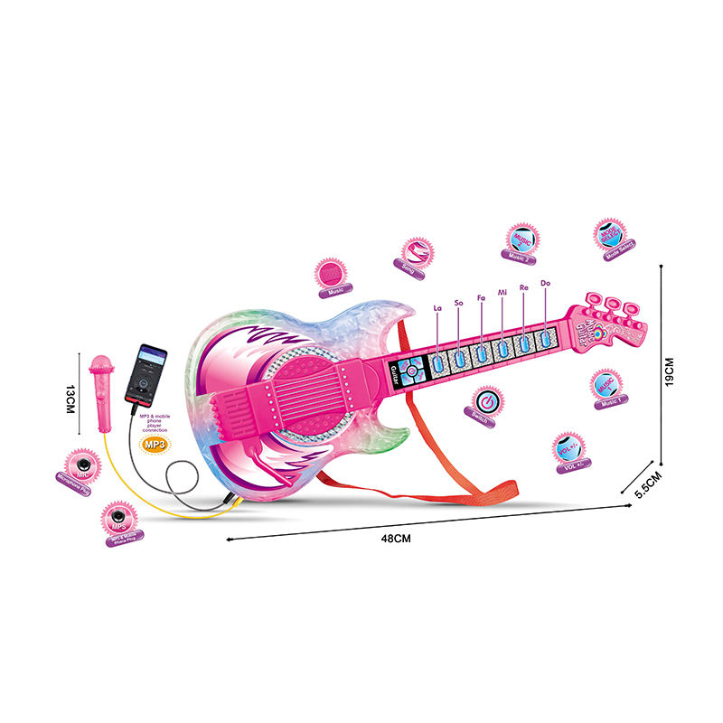 New style creative super cool B/O guitar connect MP3 combination set educational toys with mini microphone
