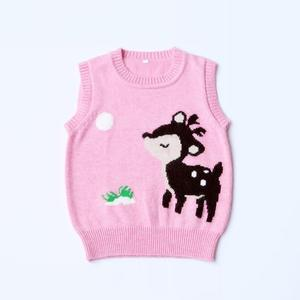 Custom kids cartoon fashion comfortable 100%cashmere wool jumper sweater for baby girls