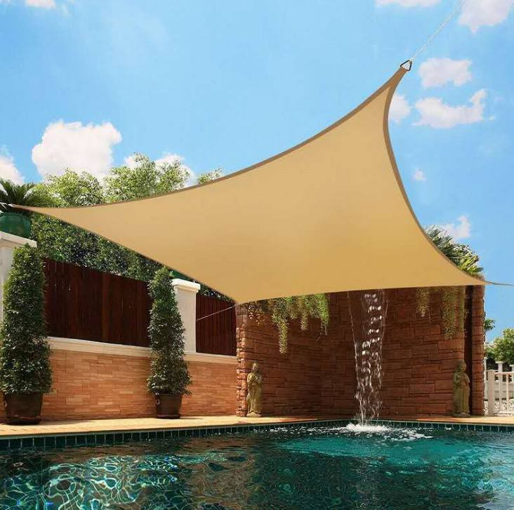 outside waterproof sun shade sail HDPE and oxford material UV stabilized sun shading sail triangle and square shape shade sales