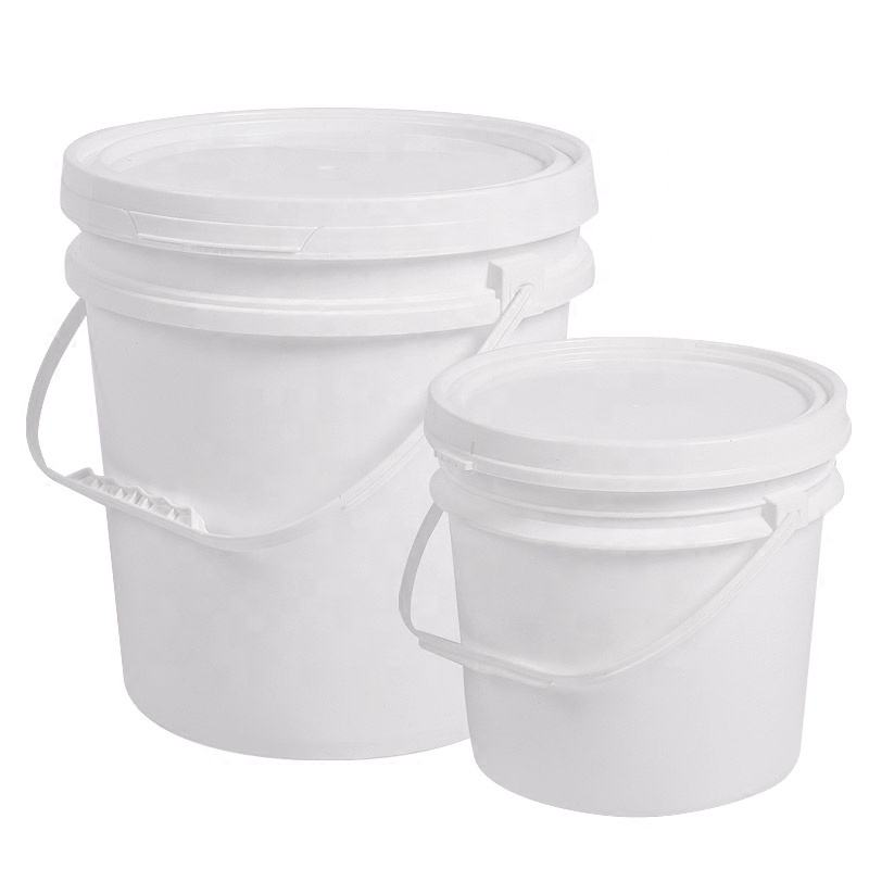 Industrial Plastic 5 Gallon Bucket with Metal Handle and Lid
