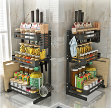 201 stainless steel with black coating standing kitchen bottle  jars organizer rack spice rack 2tiers 3tier can choose