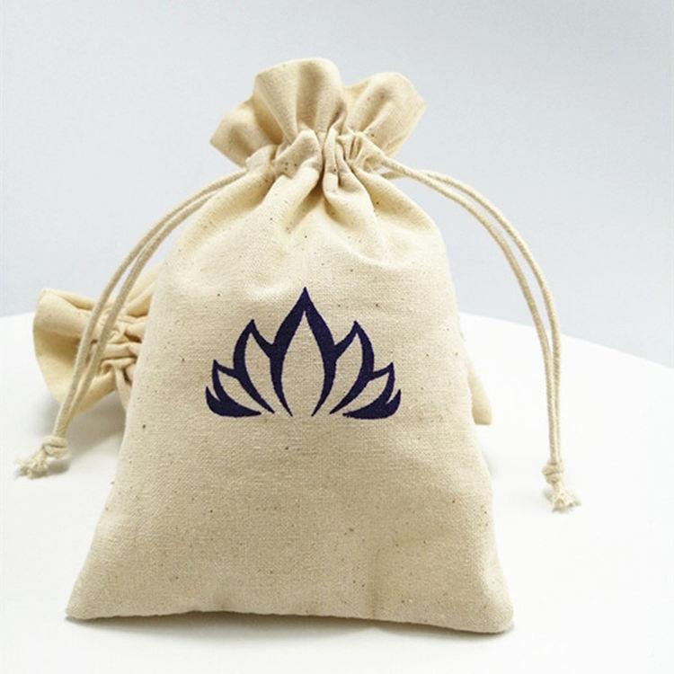 Eco-friendly reusable customized printed natural classic canvas calico muslin gift candy packaging custom cotton drawstring bags