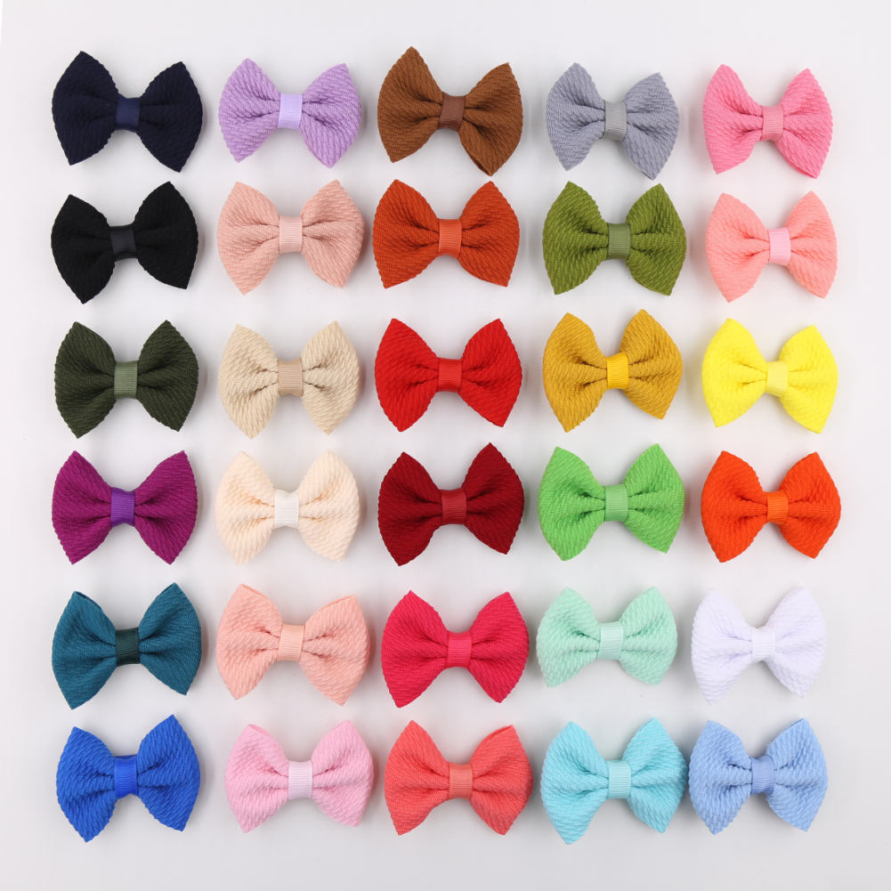 6CM 30colors Big Solid Waffle Bullet Fabric Headband Baby Christmas Hair Bows Hairpins Elastic Hairbands Hair Accessories Gifts