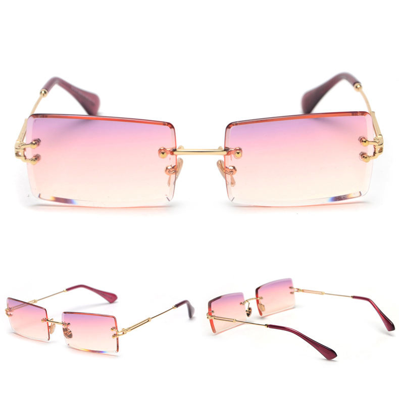 High End Metal Gradient Vintage Small Rectangle Rimless Rectangular Sunglasses for Women
