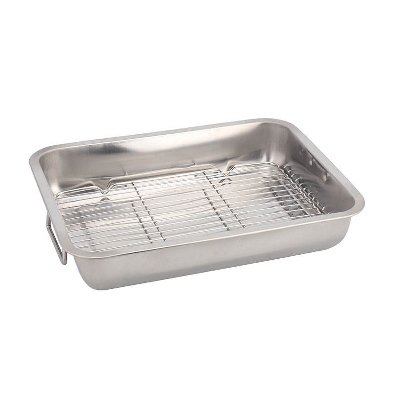 Stainless Steel Roasting Pan With Rack Rectangular Bake Pan Baking Tray Sheet With Cooling Rack