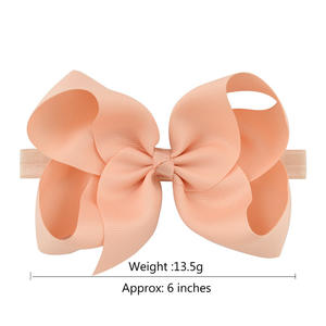 polyester 6 inch grosgrain hair bow with elastic hair band for baby