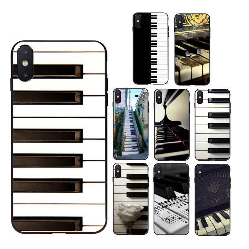 Soft silicone TPU/UV printed phone case with piano keyboard pattern for iphone5/5s/6/6s/7/8/7plus/8plus/X/XS/XMAX/11/11pro/max