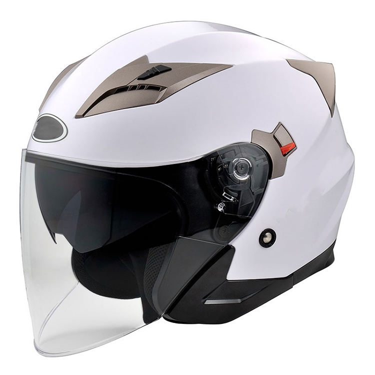 DOT ECE approved white open face motorcycle helmet with visor