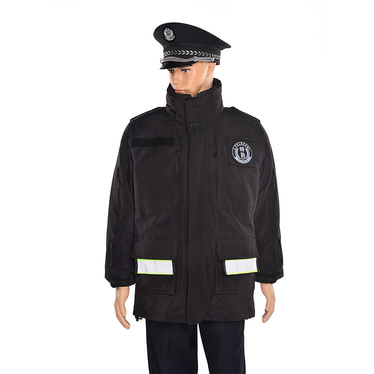 Customized black multi-functional liner winter guard security uniform coat and jackets uniforms with cotton padded lining