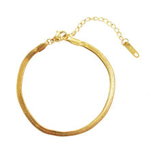 2020 Summer Jewelry Fashion Stainless Steel Gold Plated 4mm Flat Snake Chain Bracelets for Women