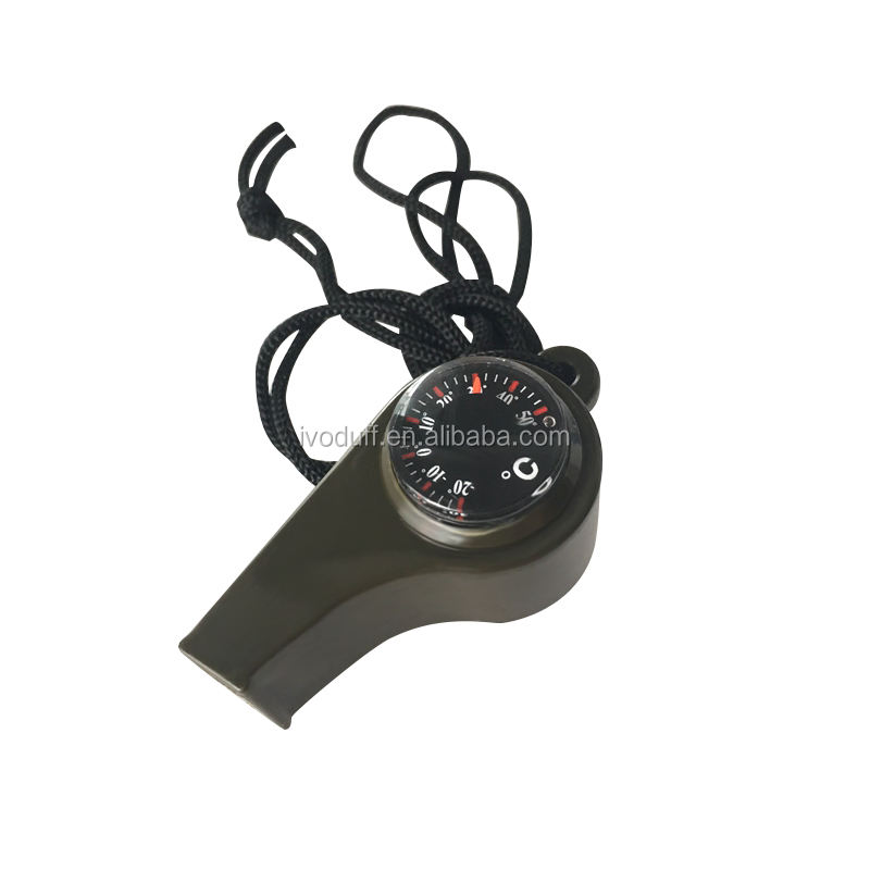 Ivoduff compass Bulk price Hiking Survival Gear Whistle with compass and thermometer
