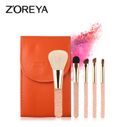 ZORAYA Spot 5 Makeup Brushes Set Promotional Price Beauty Tools Diamond Handle Animal Hair