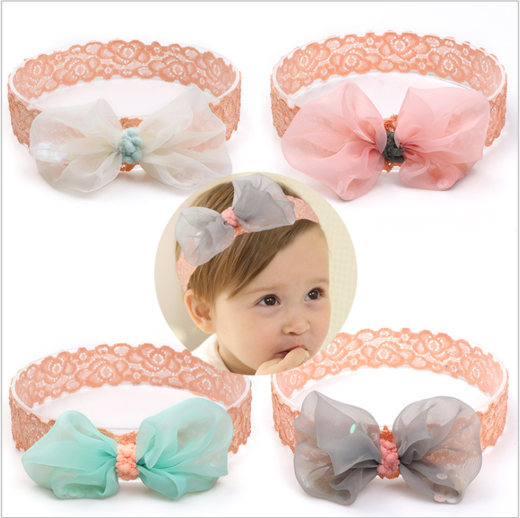3pcs//set Baby Headband Coloful Big Bow Knot Traceless Nylon Children TOP
