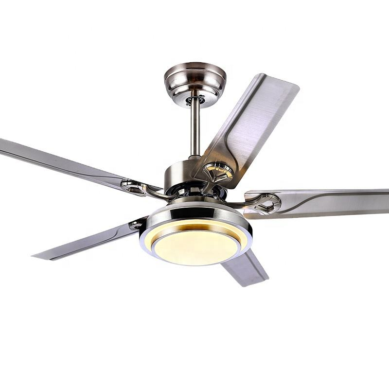 Metal ceiling fan 52 inch stainless steel ceiling fans with LED lights remote control metal ceiling fan