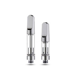 High quality stainless steel 304 glass cbd vape cartridge 0.5ml 1ml ceramic coil silver vape cartridge No heavy metal