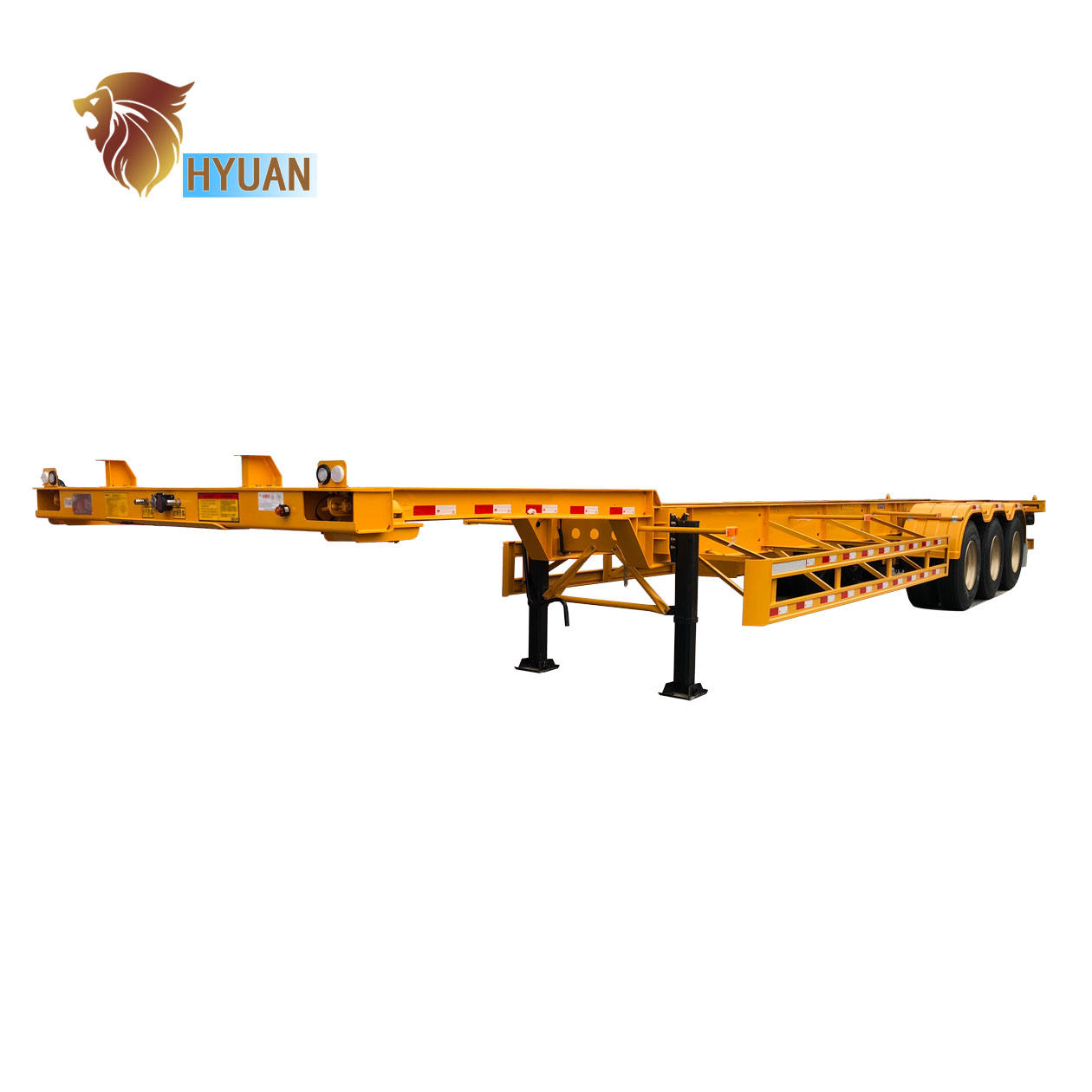 HYUAN 2Axle 3Axle 20ft 40feet skeleton semi trailer container chassis trailer for sale