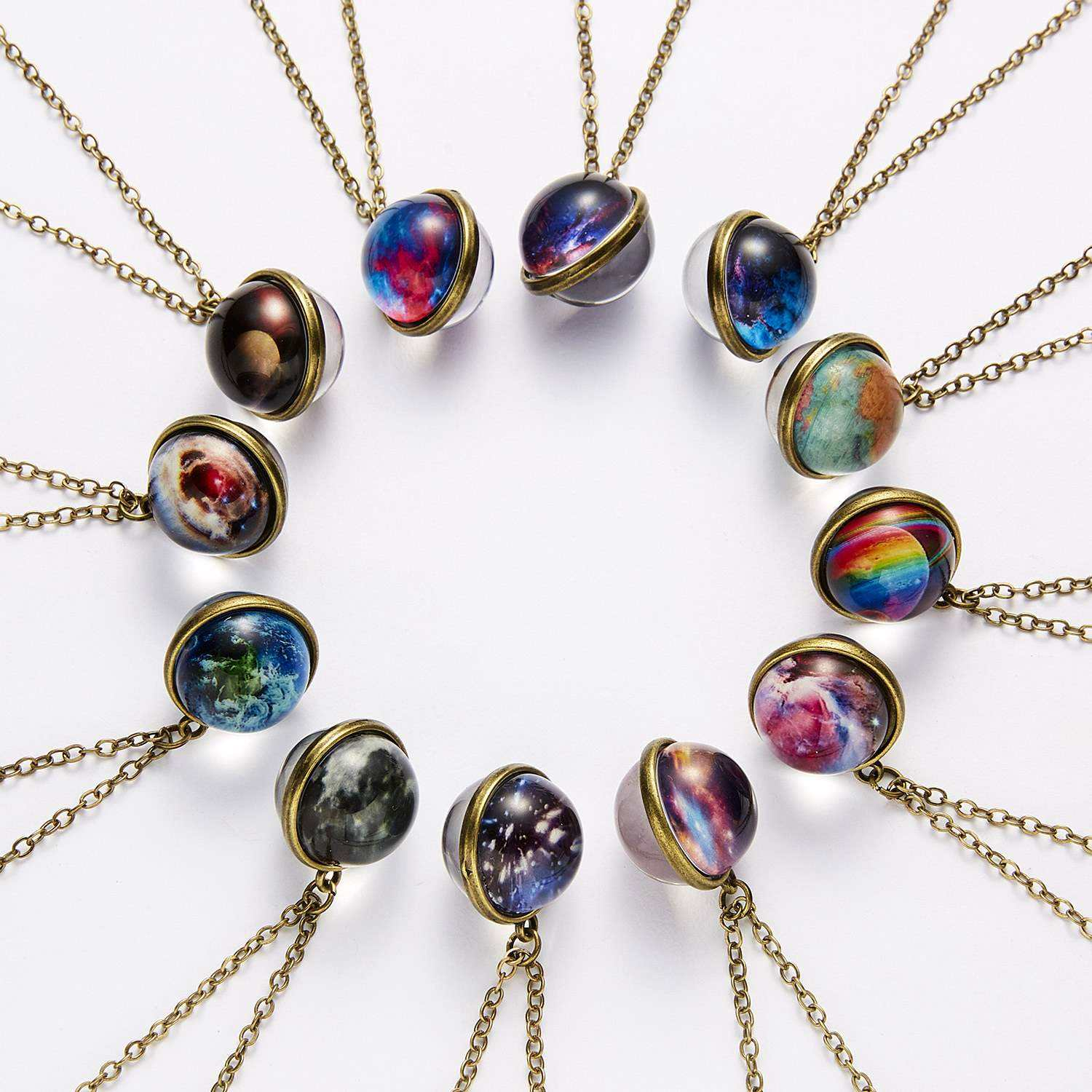 Double Side Glass Ball Necklace Vintage Galaxy Astronomy Pendant Necklace Universe Planet Cosmic Luminous Jewelry M0053
