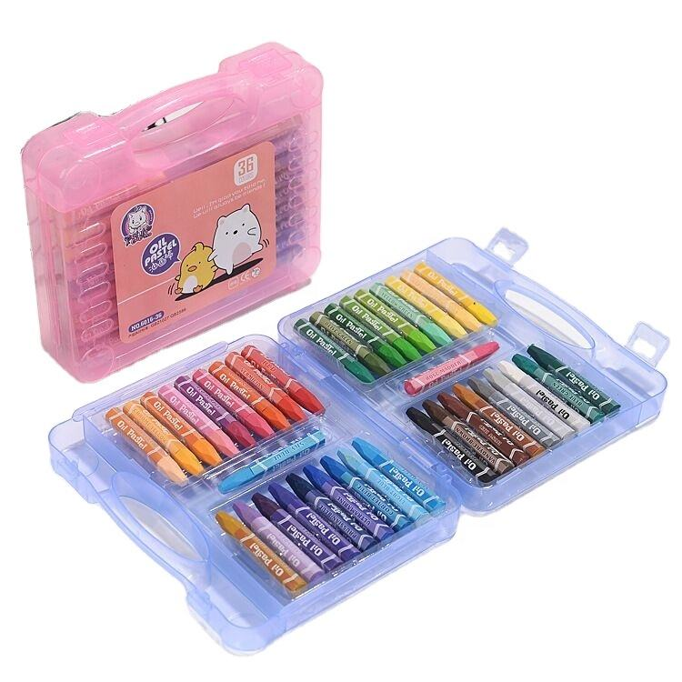 Plastic Crayons Plastic Box Package Soft Hexagonal Oil Pastel Set Crayons Stick