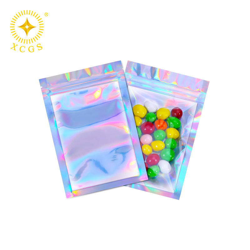 5.5 x 7.9 Inches Holographic Smell Proof Zip lock Flat Foil Metalized Mylar Pouch Bag for Contents Inside Fresher Longer