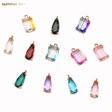 New Arrival Colourful Geometric Water Drop Rhinestone PendantS DIY Earring Necklace Crystal Glass Charms for Jewelry Making