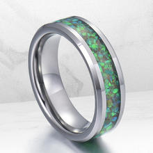 China Opal Jewelry supplier Stainless Steel Men Jewelry Vibrant Green and Blue Fire Natural Opal Ring Opal Band