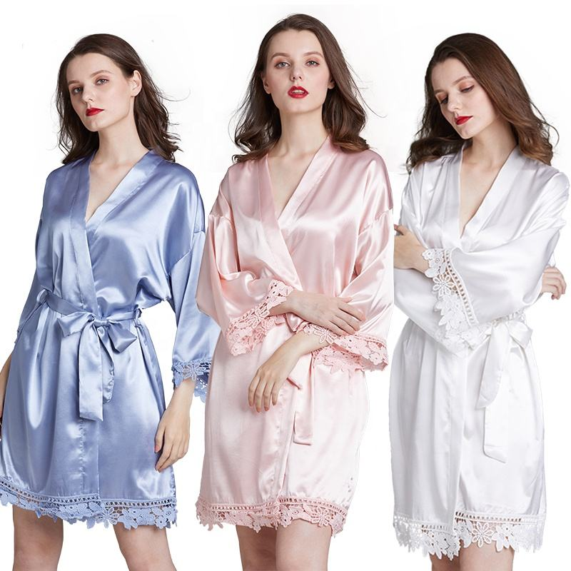Wholesale wedding women's robe bride bridesmaid lace dressing gown custom silk solid kimono satin robes for bridal party