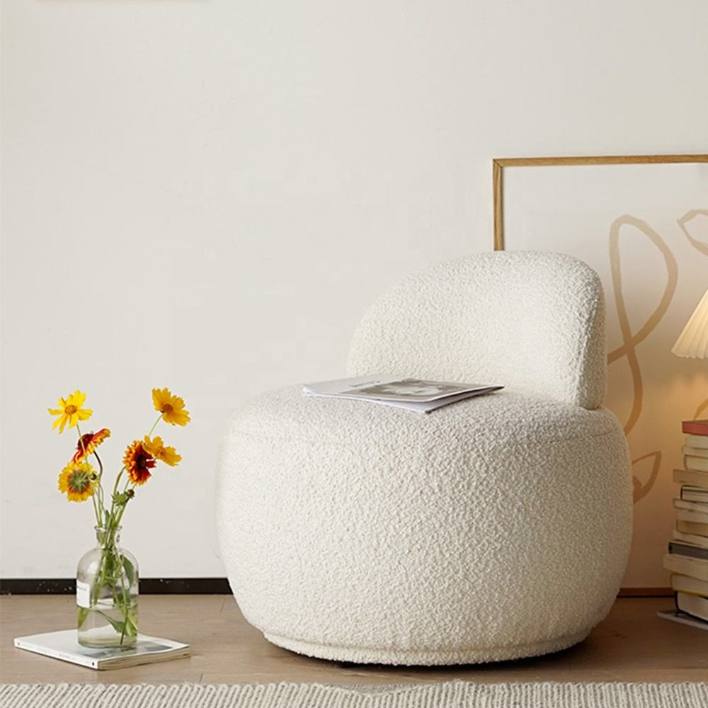 Nordic Style Hotel Luxury Sheep Skin Sofa Chair Teddy Plush Fur Fabric Accent Chair for Coffee Shop
