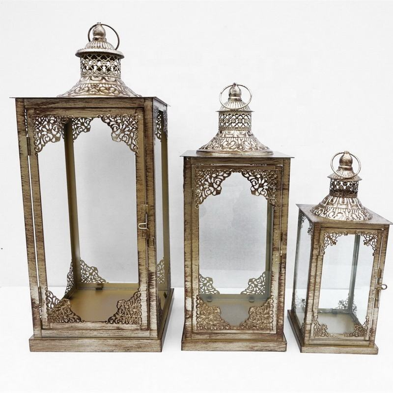 Set Of 3 Moroccan Lantern Antique Lantern Decorative Gold Metal Lantern For Home Decor