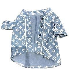 Luxury brand designs printed denim pet shirt apparel