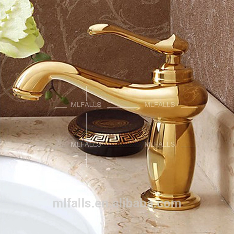 Factory price luxury bathroom design lavatory faucet,Ti-PVD finish single hole golden faucet,royal basin gold faucet