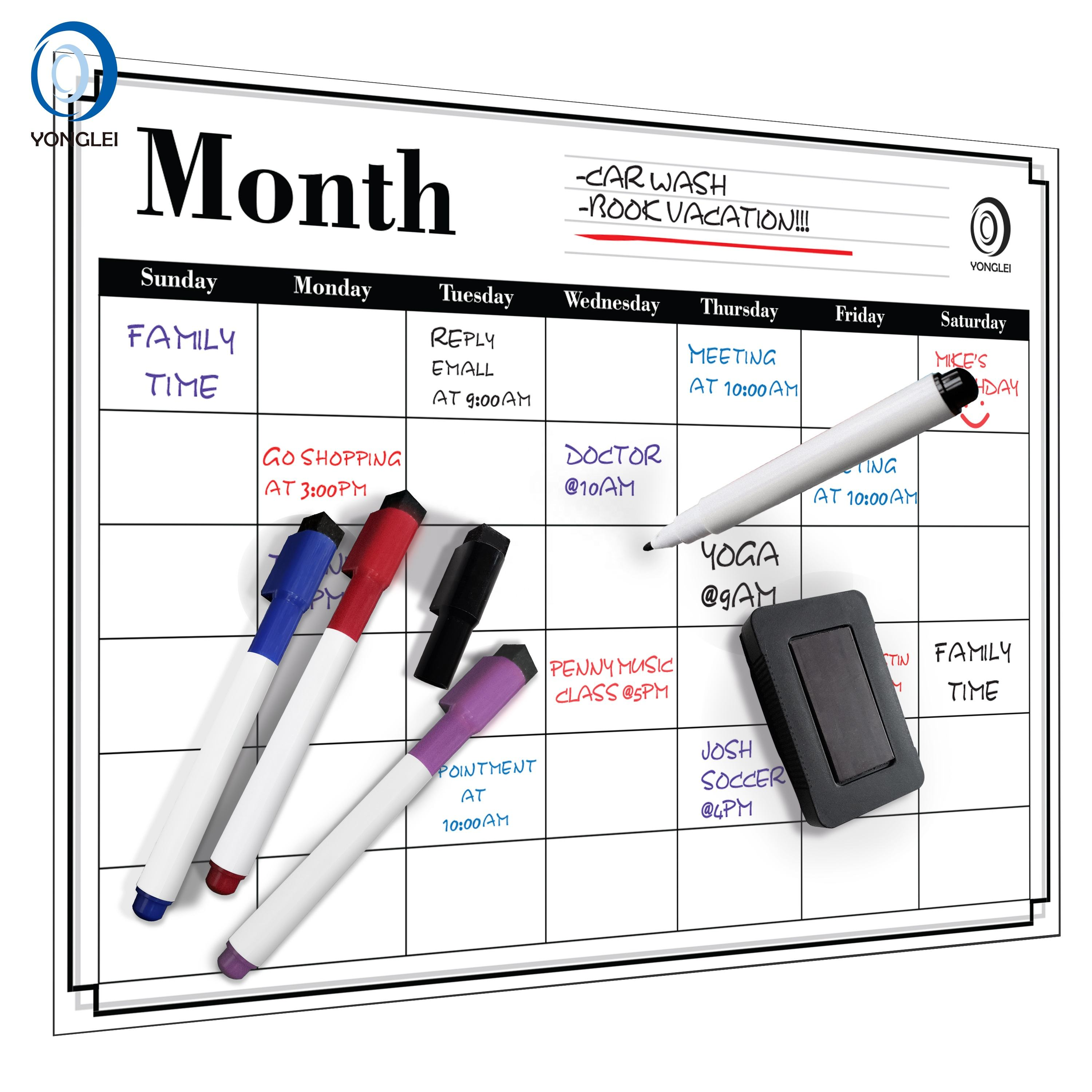 5.8-3A2 Dry erase monthly planner calendar refrigerator calendar family planner calendar