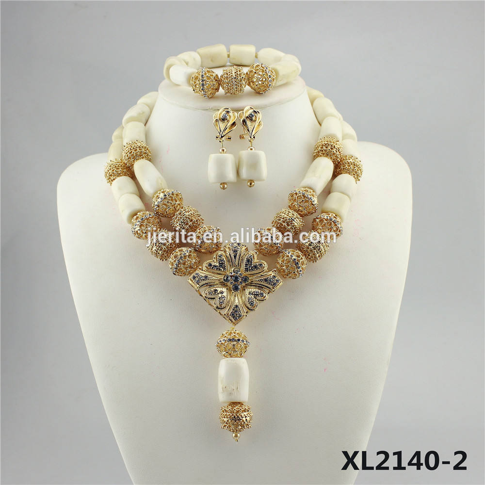 Beautiful White wedding Indian coral beads necklace and earring jewelry set