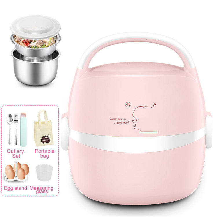 Electric Heating Container Cooking Lunch Box Automatic Heat Preservation 304 Stainless Steel Student Office Worker Lunch Box
