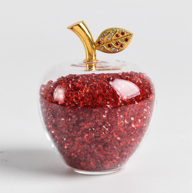 Fashion 50mm different colors diamond inside crystal glass paperweight painted glass apple glass apple paperweight