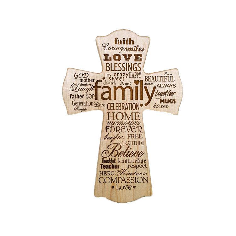 De forma personalizada decoración hogar tallado cruz de madera artesanía