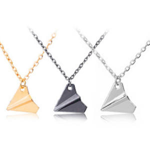 3D Origami Plane Necklaces Black Gold Silver Plated Necklace Simple Paper Tiny Aircraft Airplane Harry Styles Jewelry