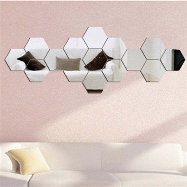 Factory Direct Selling Hexagon Acrylic Mirror Wall Sticker PMMA 3D Wall Sticker for Living Room Decoration