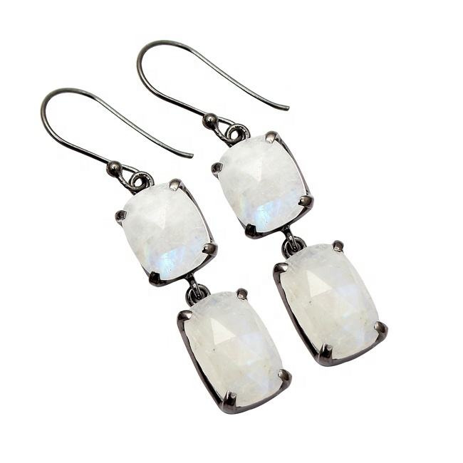 Exclusive Collection High Quality Natural Rainbow Moonstone Black Rhodium Dangle Hook 925 Sterling Silver Jewelry Earrings