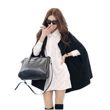Winter Women Black Loose Batwing Poncho Jacket Wool Cape Coat