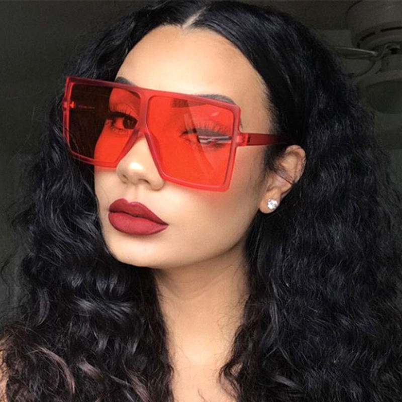 2020 newest fashion cheap promotional big rectangle girls flat top lenses sunglasses for women 31 colors