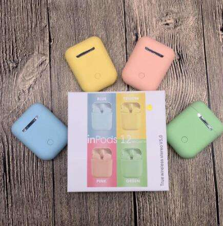 Inpods 12 Earphone I7s I9s I11 I12 Tws, Headset Earphone Nirkabel Macaron 12 Inpod 12 I12 Tws