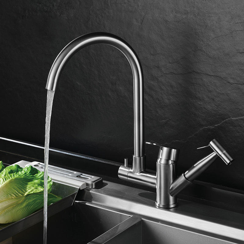 SS304 stainless steel dual kitchen faucet hot and cold mixer tap