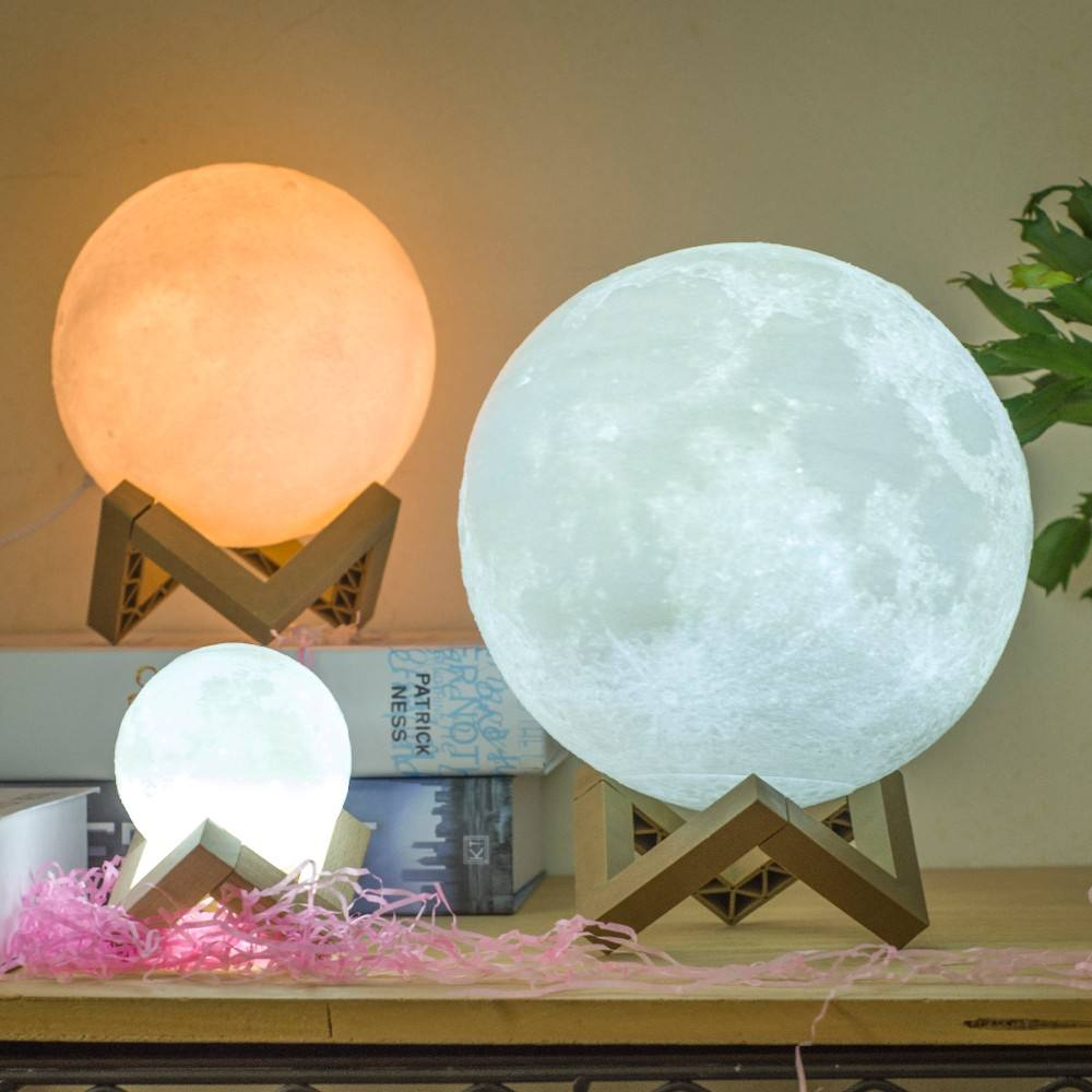 flash sale LED Night Light Dimmable Touch USB Rechargeable 3D Printing Lunar Moon Lamp