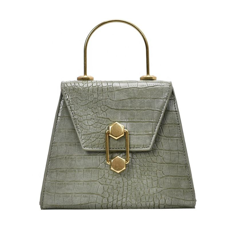 Classical Stone Pattern Metal Handle Lock Button PU Leather Cross Shoulder big capacity ladies wholesale handbags