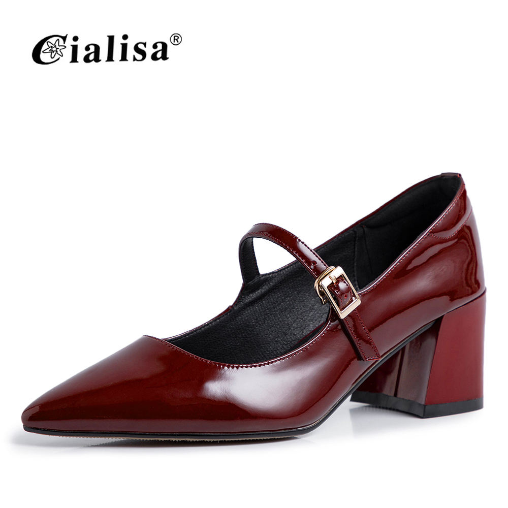 2019 High Quality Black Buckle Real Leather Woman Shoe 6cm Heel Height Pointed Toe Chunky Heel Wine Red Bow Low Heel Single Shoe