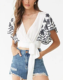 2019 Summer New Women White Floral Embroidered Surplice Crop Top