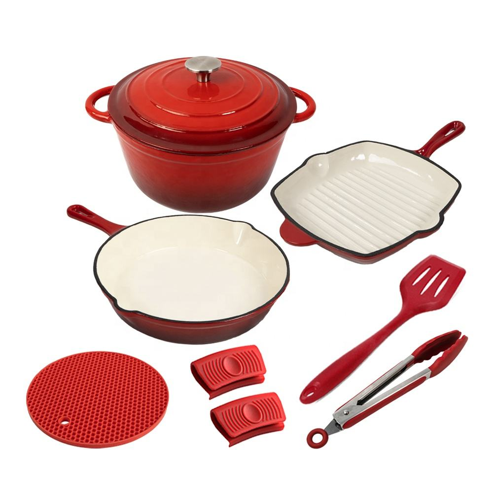 Wholesale high quality home kitchen custom cooking nonstick enamel cast iron cookware sets