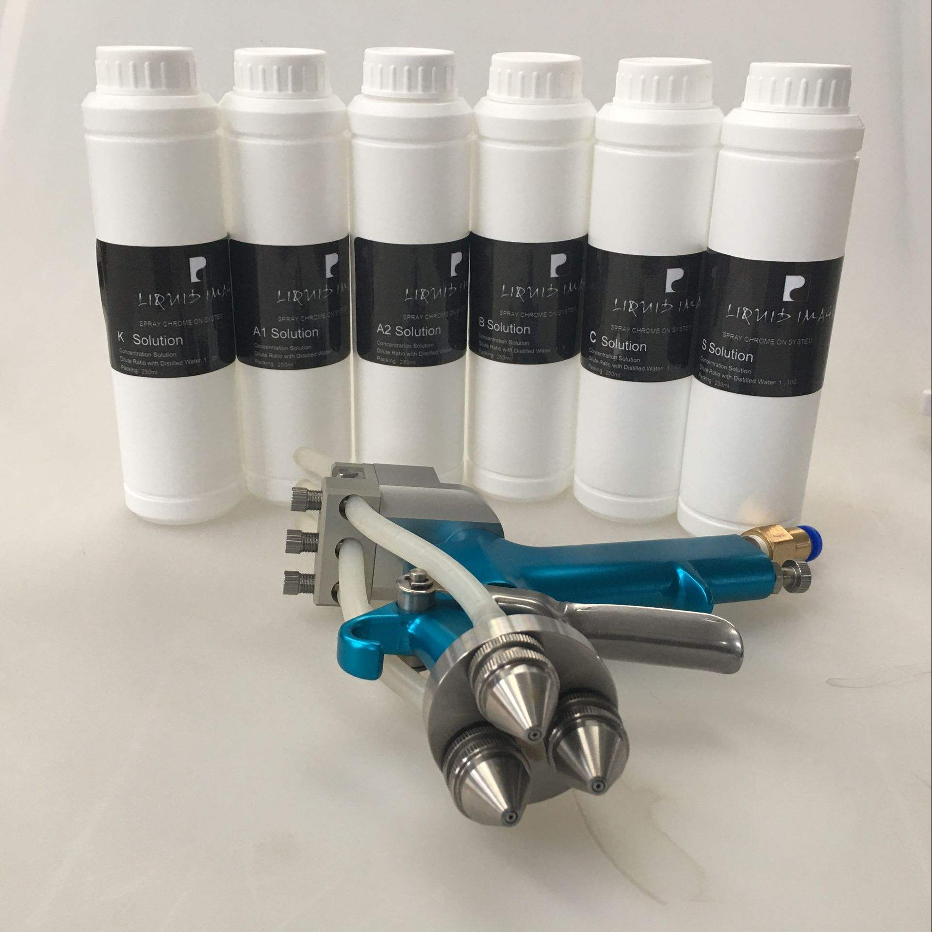 Gold silver mirror mini spray on chrome kit & chrome plating machine dual nozzle spray gun chrome