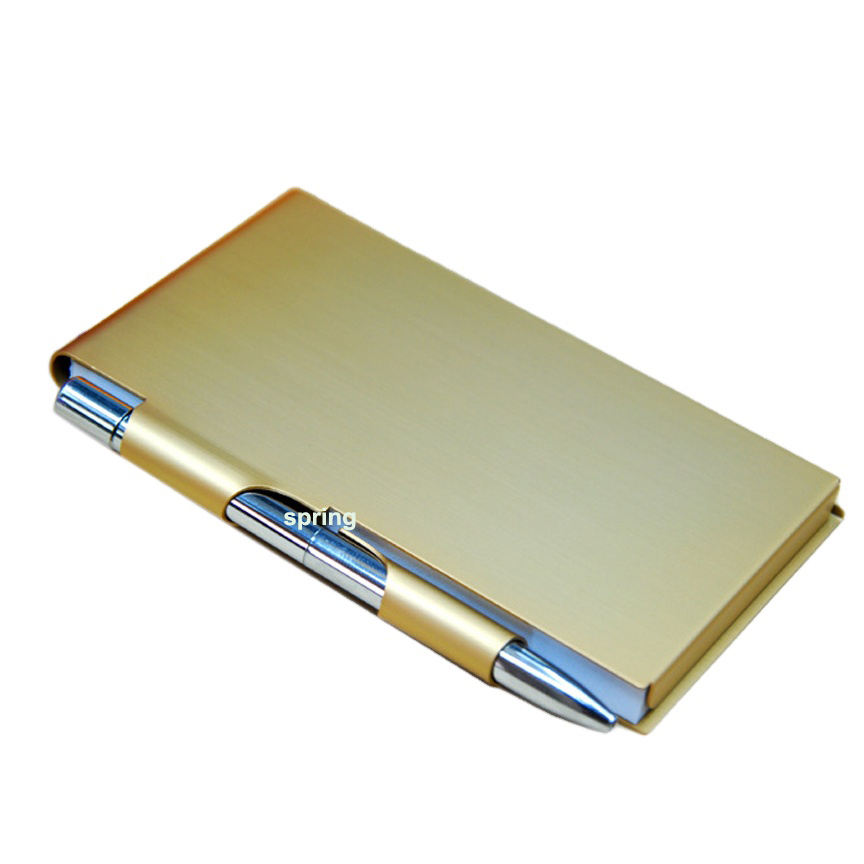 Goede Kwaliteit Notepad Sticky Notes Doos Aluminium Pocket Notebook Houder <span class=keywords><strong>Memo</strong></span> Case Met <span class=keywords><strong>Bal</strong></span> Metalen Pen
